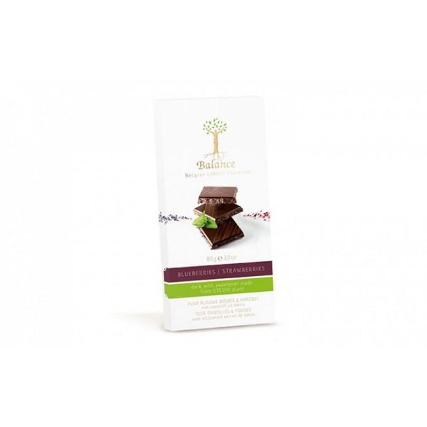 Čokoláda horká Stevia čučoriedka + jahody 85g