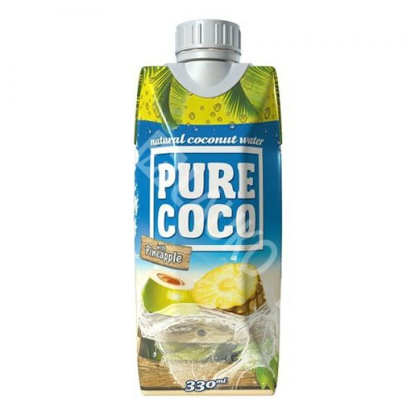 Kokosová voda Pure Coco ananás 330ml