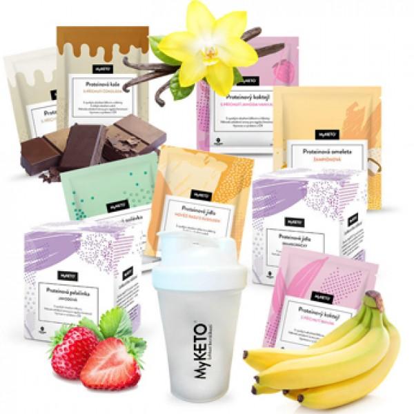 MyKETO proteínová keto diéta 1 mesiac, výhodný diétny balíček 126×40 g  + šejker zadarmo