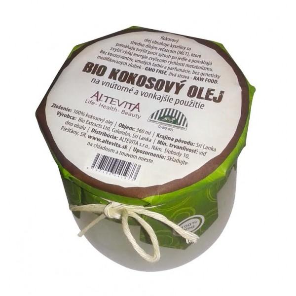 Altevita BIO RAW kokosový olej 360ml